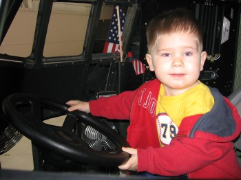 Liam as pilot of a 1/4 size jet